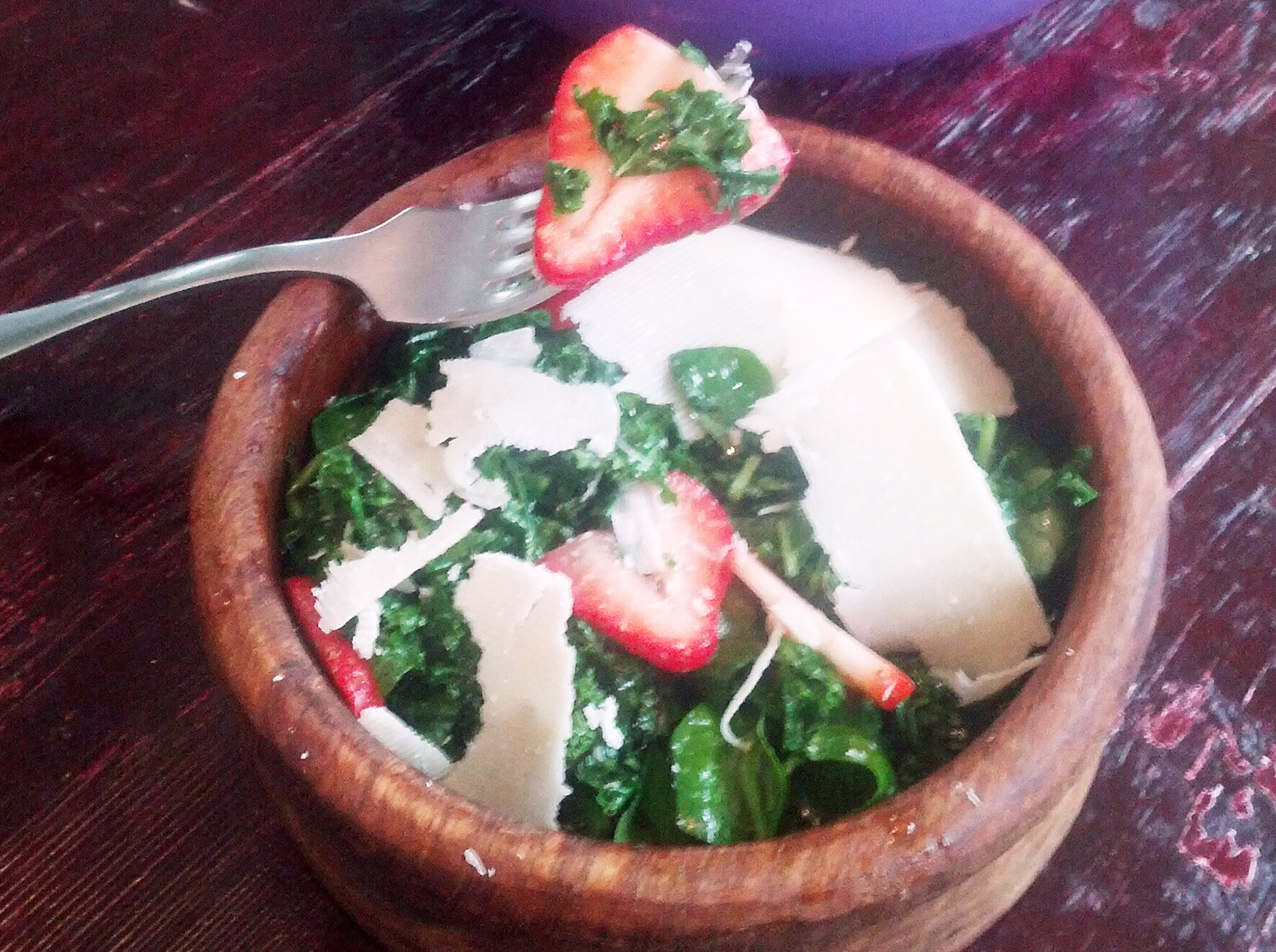 Strawberry Kale and Broccoli Rabe Salad
